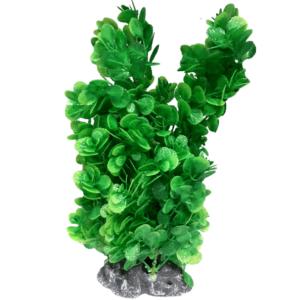 PP0840056b Plastic Plant Lush Glossy Round Leaf Bush with Base 350mm at Rebel Pets