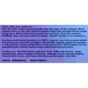 H1880 ECO-BAN Sm Animal Powder Label at Rebel Pets